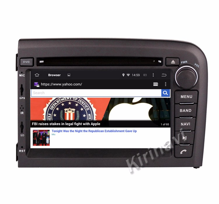 autoradio kirinavi android 5 1 f r volvo s80 1998 2006 gps. Black Bedroom Furniture Sets. Home Design Ideas
