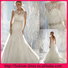 2013 Elegant Lace New Model Wedding Dress With Beaded Waist