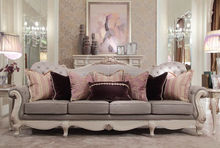 French rococo elegant living room furniture hand carved solid wood sofa and fireplace