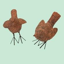 Woodside pair of decorative resin wren bird set garden ornaments