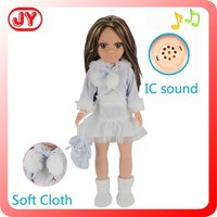 2015 new product 18 inch White dress baby doll with music singing doll
