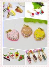 gold plating cake charm food jewelry pendant
