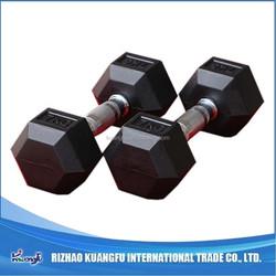 Black rubber hex dumbbell kg for body strength training
