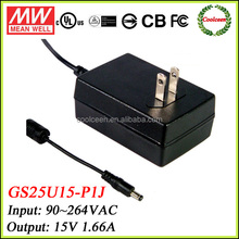 Meanwell GS25U15-P1J industrial adapter 15v