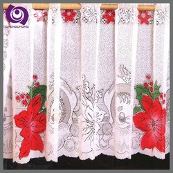 High Quality Classic Polyester Printed Lace Kitchen Window Shower Curtain Fabric Ready Made Curtains