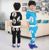 2015 autumn&spring new children's clothing embroidery zipper leisure boy suit wholesale the circle big head movement