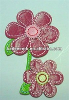 Iron on Red Leather Flower Embroidery Badges in High Quality/iron on patches on clothing