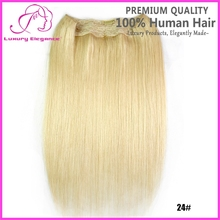 Summer Blonde Straight Peruvian Hair Fish Line Hair Extension For White Women