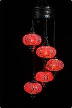 Turkish Handmade 5 Ball mosaic hanging lamp