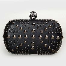 black pu rivet skull buckle new hand bag women 2014 for hand bag women