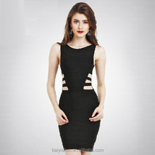 2015 in-alles New Fashion Womens Bodycon Dress Ladies black Hollow Out Sexy Party Dress