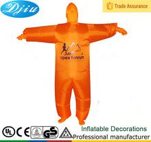 Dj-co-117 ropa inflable traje divertido colorido de disfraces de Halloween naranja mono