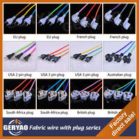 Europe and USA CE VDE ENEC UL CUL BS SAA approved fabric wire braided cable textile electric cable with 2 pin plug 3 pin plug