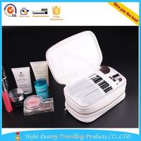 unique wholesale custom zipper plain leather makeup travel case