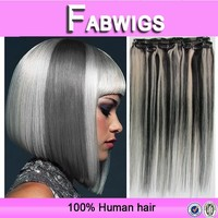 Fabwigs alibaba express 7a grade silky straight virgin indian grey color clip in hair extension
