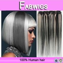 Fabwigs alibaba express 7a grade silky straight virgin indian grey color clip in hair extension