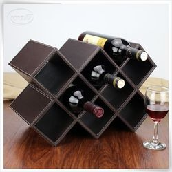 high quality pu leather wine in a cardboarden wine carrier box