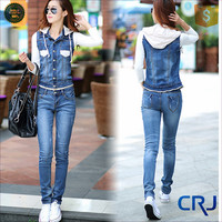 Wholesale high quality denim jumpsuit for women 2015