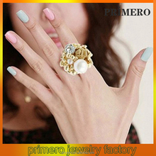 PRIMERO Rosary flower jewelry 2015 excellent rose pearl ring wholesale fashion ring Fashion personality cuff ring