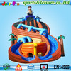 0.55mm PVC dual lane pirate ship inflatable super slide with obstacle