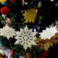 15 or 30Pcs/Pack Details about Christmas Tree Room Decorations Glitter Snowflakes