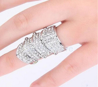 2015 Hot Selling Ring Celeb's Full Rhinestone Armor Finger Ring Punk silver color Fashion jewelry