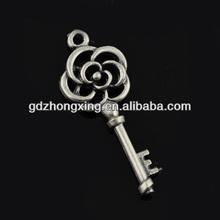 Zinc alloy girls flower key pendant for necklace cheap wholesale