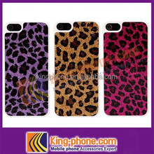 Leopard pattern hard case stick PU leather phone cover for iphone 5
