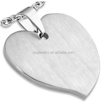 Simple Matte Finished Stainless Steel Jewelry Engravable Love Heart with a Double Ball Magnetic Pendant