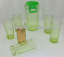 China Guangzhou factory very cheap 7pcs drinking water glass with colored