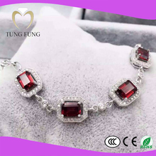 latest new model 925 silver natural Garnet jewelry set 2015