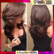 Peerless Peruvian Human Virgin Hair Brown Color Lace Frontal Wigs Free Shipping