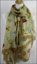 wholesale 100% polyester volie print chevron infinity scarf