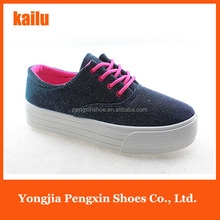 2016 new model new material women canvas shoes Thick crust shoes will change color uppers