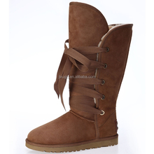 JLX2015 the new design winter women fashion lace-up warm dark brown half snow boots factory directly provide