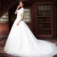 JNZX08 hot selling bridal gown luxury round collar lace ball gown with long tail wedding dresses 2015 china