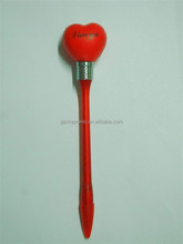 Knock and light flash bulb ball pen in heart shape