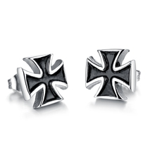 2015 New Hot sale Wholesale New Hot Sales Fashion Charming Jewelry women / men Delicate Rome cross trend Stud Earrings GE276