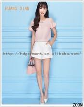 2015 New Design Korean Style Pink Fashion T shirt For Women/Ladies Slim Fit Bead Short Sleeve T-shirt