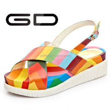 Shiny glitter rainbow colorful flat sandal girls flat heel sandal shoes