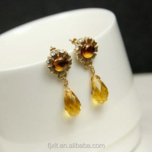 New arrival teardrop yellow crystal a cross earring
