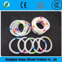 2015 100% Food Grade Cheap bead charm silicone bracelet