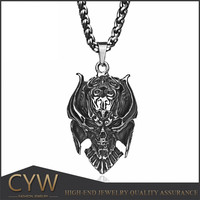 Medieval diablo style evil skull stainless steel pendant knight necklace