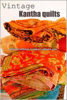 Vintage Kantha Quilt Old Sari Throw