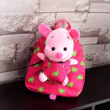 pink pig plush backpack / Plush Animal Backpack for kids