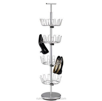 Household Essentials Four Tier Silver Finished New Revolving Shoe Tree