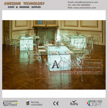 clear acrylic glass dinning table with led lighting for special events