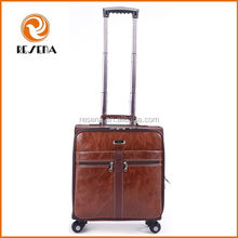 Vintage Trolley Leather Luggage,Small Size Leather Laptop suitcase,PU Leather Luggage Bag