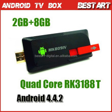 Quad Cord RK3188T Mini Google TV Box MK809 IV Android 4.4.2 Mini PC 2GB+8GB Smart Android TV Box, Smart TV Player