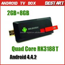 Quad Cord RK3188T Mini Google TV Box MK809 IV Android 4.4.2 Mini PC 2GB+8GB Smart Android TV Box, Smart TV Player